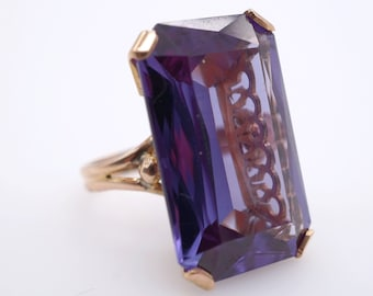 size 5.5 vintage handmade 12k gold synthetic alexandrite approx 38ct ring - ww