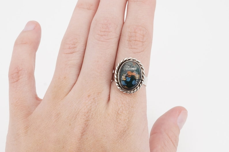 vintage mexican sterling silver foil glass adjustable ring