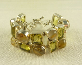 Vintage Sterling Citrine and Rutilated Quartz Chunky Heavy Bracelet