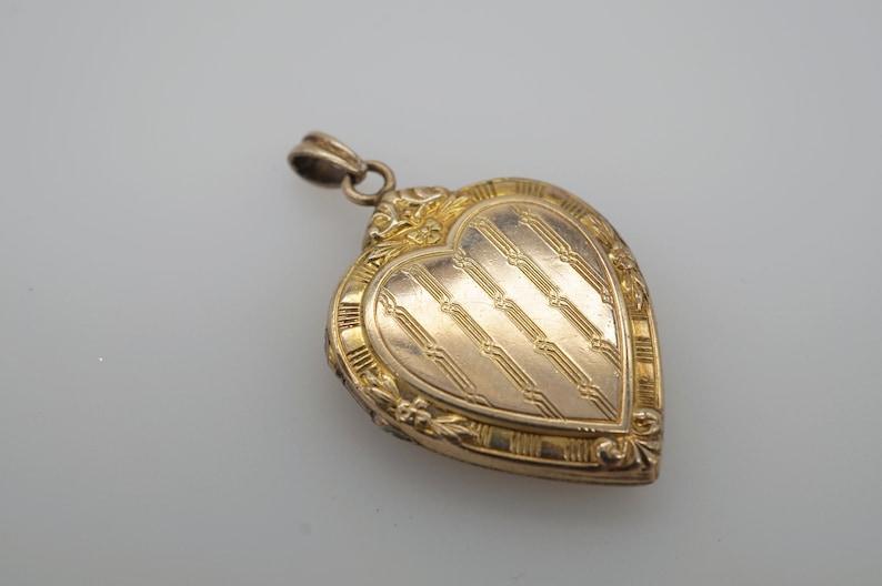 antique victorian gold fill engraved heart locket