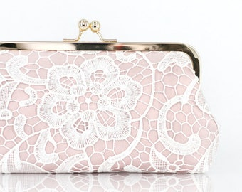 Bridal Blush Pink and White Lace Clutch - L'HERITAGE | Bridal Gift | Photo Clutch | Bridesmaids Present