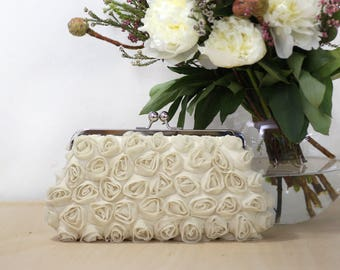 Rosebuds Floral Clutch in Dark Champagne   Gift for Brides, Bridesmaids and Mothers