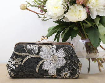 Black White and Gold Floral Clutch   Embroidered Tulle Lace   Mother of the Bride Gift