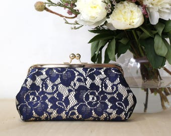 Champagne and Navy Peony Lace Bridal Clutch   Bridesmaid Clutch
