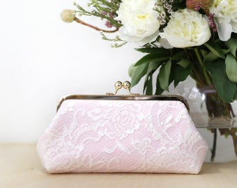 Peony Paisley Lace Bridal Clutch in Ivory and Pink | Bridesmaid Clutch