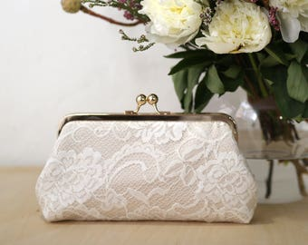 Peony Paisley Lace Bridal Clutch in Champagne | Bridesmaid Clutch