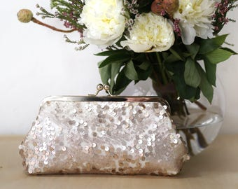 Blush Champagne Sequins (assorted) Tulle Clutch | Bridesmaids | Mother of the bride