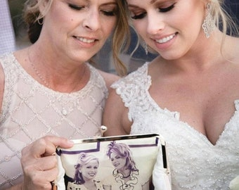 TOP UP - The Original Personalized Photo Clutch, Wedding Gift for Mother in law Bride Groom, Bridal Shower Gift