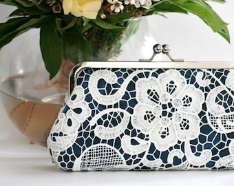 Personalized Gift, Bridesmaid Gift, White Lace Clutch in Navy Blue - L'HERITAGE