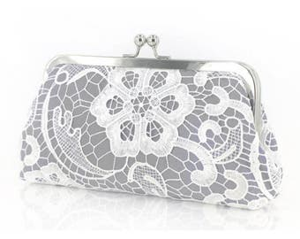 Personalized Gift, Bridesmaid Gift, White Lace Bridal Clutch in Ash Gray - L'HERITAGE