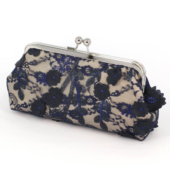 4cfd250b2457 Champagne and Navy Plum Blossoms Lace Bridal Clutch