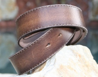 Brown Distressed Leather Belt Strap