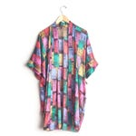 One Size // COLORFUL PRINT KIMONO // Comes with Belt - Abstract Building Print - Patchwork Pattern - Pockets - Vintage.