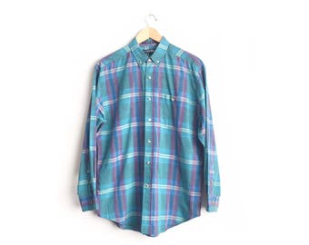 d2bb23bc 10 DOLLAR SALE // Size M // TEAL Plaid Oxford // Long Sleeve Button-Up Shirt  - Teal & Purple - Vintage '80s.