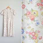 SALE // Size M // FLORAL DRESS // White - Pintucked - Short Sleeve - Spring - Day Dress - Vintage Handmade.