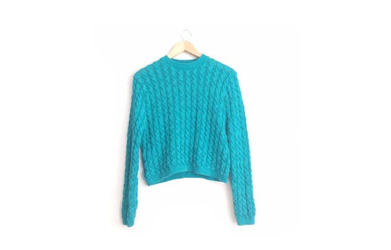 CLEARANCE SALE // Size L // TEAL Cropped Sweater /