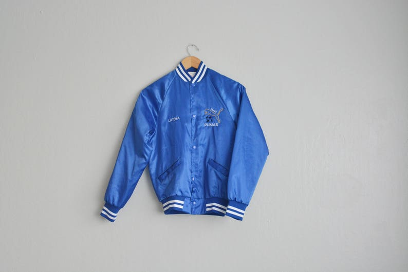 Rayé Royal Et Latoya La Club Veste Tracy S En 80 Taille Blanc Baseball Jacket ' Pumas Nylon Vintage Garniture Cardinal De Bleu m80nwN