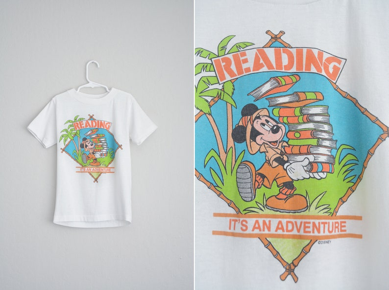 9eacf417 MICKEY MOUSE Reading It's an Adventure T-Shirt // White   Etsy