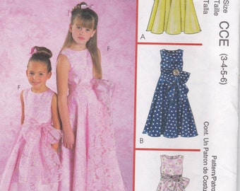 McCall's 4359 6 Great Looks Girls/Children Special Occasion Dress Sz 3-4-5-6 UC