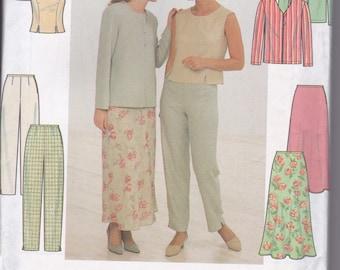 1990s Simplicity Pattern 7970 Career Separates, Jacket, Top, Pants, Skirt 16-20 UC