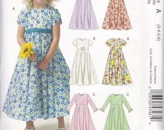 McCall's 4746 Easy Stitch 'n Girls Lined Jewel Neck Dress Sz 3-4-5-6 UC, FF