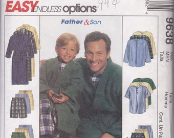 McCalls 9638 Father & Son Pajama Pants, Top and Bathrobe 2X Boys+Mens CUT