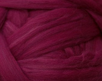 Ruby Red solid Merino Wool Combed Top for spinning- 8 ounces