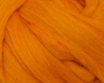 Tangerine solid Merino Wool Combed Top for spinning- 8 ounces