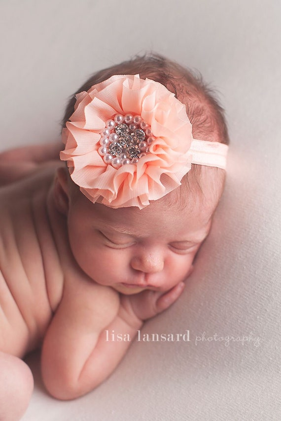 first birthday prop girls headbands Chiffon Flower Headband newborn prop Photo prop baby headbands peach headband Rhinestone headband