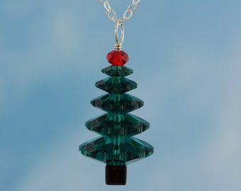 Emerald Green & Cherry Red Crystal Christmas Tree Sterling Silver Holiday Necklace - red and green Swarovski crystals - free shipping in USA