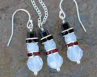 White Opal Crystal Snowmen Necklace & Earring Set -  red scarf, black hat, Swarovski Crystals - Winter and Christmas - Free shipping USA