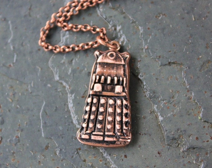 Exterminate Whovian Fun Handmade antiqued copper pendant on copper plated brass rolo chain Dalek Necklace UK  Doctor Who Sci Fi Fans