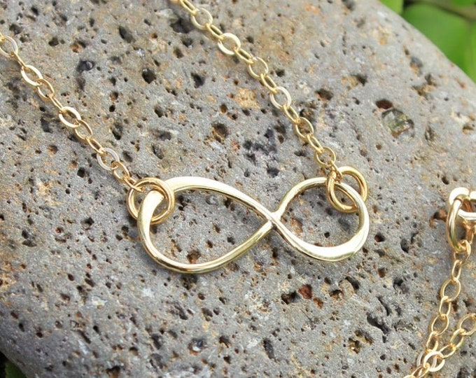 petite golden bronze infinity sign and 14k gold filled delicate chain free shipping USA Eternal Infinity Necklace Endless -Forever
