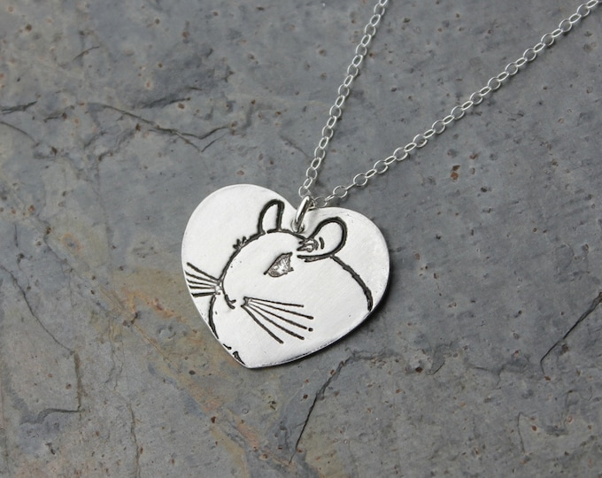 Chinchilla Love necklace fine silver handmade heart charm with stamped chinchilla on sterling silver chain free shipping in USA