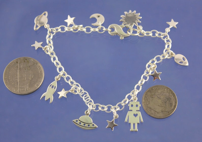 Sci Fi Fan Luxury Gift Tiny Aliens sun /& star charms Robots Planets and Spaceships Sterling Silver Charm Bracelet- plus moon
