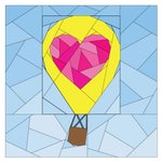 Rise Above Add-on: Geometric Heart #261, 12 inch Hot Air Balloon Quilt Block, Paper Piecing Quilt Pattern PDF, Scrap Friendly