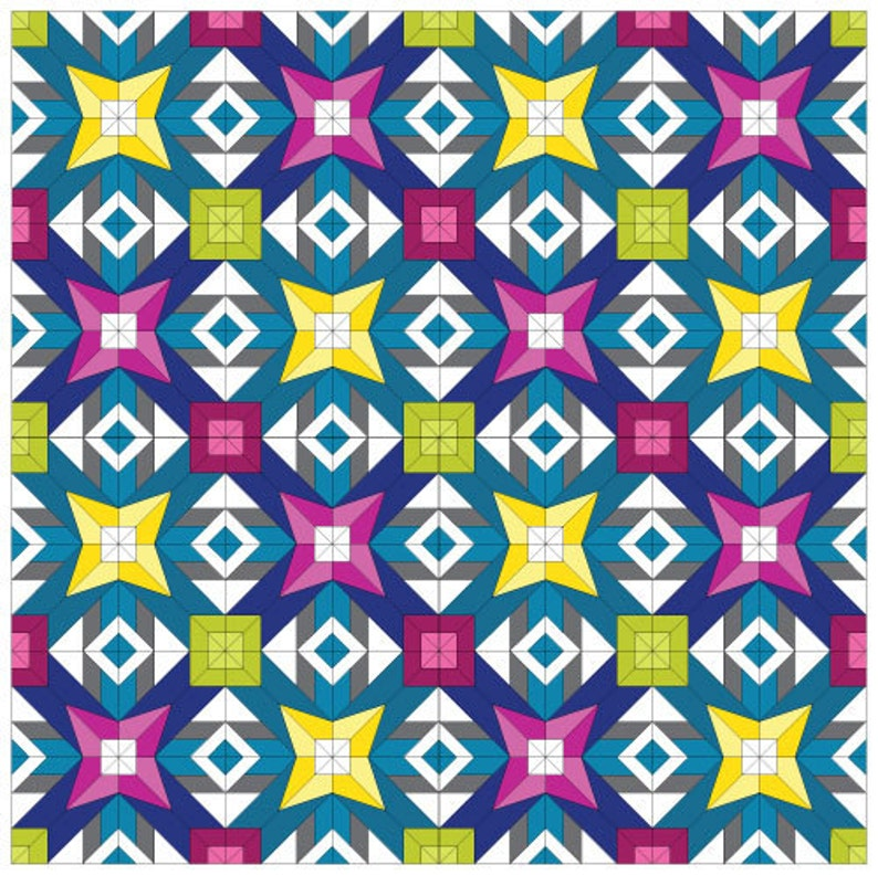 9 inch 12 inch 18 inch Paper Piecing Quilt Pattern PDF 3 block sizes Libra #245 Zodiac Quilt Modern Block of the Month Sampler