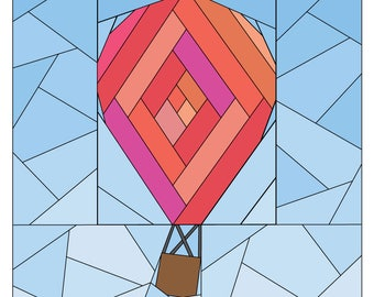 Rise Above Add-on: Log Cabin #258, 12 inch Hot Air Balloon Pattern Quilt Pattern, Easy Scrap Friendly Paper Piecing Quilt Pattern PDF