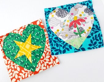 Heart Attack #265, Paper Piecing Quilt Pattern, 21 heart variations, 6 inch square, Modern Heart Quilt Block, Foundation Paper Piecing