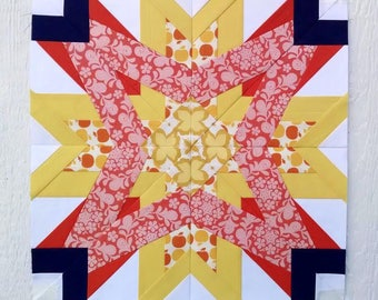 Cancer #242, 3 block sizes: 9 inch 12 inch 18 inch Paper Piecing Quilt Pattern PDF, Zodiac BOM Modern Block of the Month Sampler Quilt