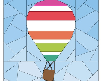 Rise Above Add-on: Horizontal Stripe #256, 12 inch Hot Air Balloon Quilt Pattern, Paper Piecing Quilt Pattern PDF, Easy Modern Quilt Pattern