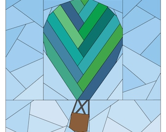 Rise Above Add-on: Herringbone #257, 12 inch Hot Air Balloon Pattern Quilt Pattern, Paper Piecing Quilt Pattern PDF, Scrap Friendly
