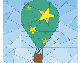 Rise Above Add-on: Stars #262, 12 inch Hot Air Balloon Pattern, Paper Piecing Quilt Pattern PDF, Modern Star Quilt Pattern