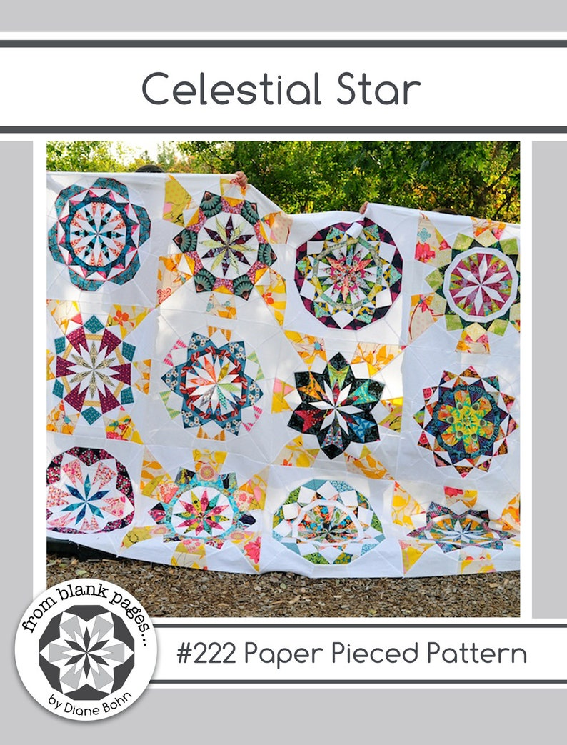 Celestial Star 222 12 inch Paper Piecing Quilt Pattern PDF image 0