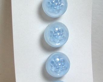 """Original card of  1/2"""" Frosted Blue Glass Buttons with Crystal Luster, 4 buttons per card 7139-6"""