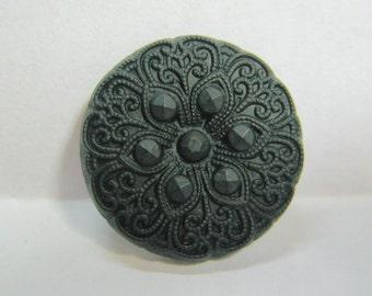 Medium Size Vintage Black Glass Button with Brass Shank