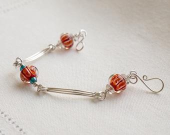 Modern lampwork glass sterling silver minimalist bracelet edgy contemporary sleek