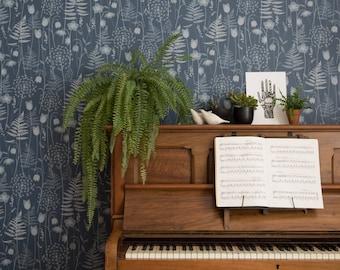 Dark Blue Ink Floral Fern Tonal Botanical Woodland Wallpaper Brontë Sisters // Charlotte's Garden in 'Inkwell' by Hannah Nunn