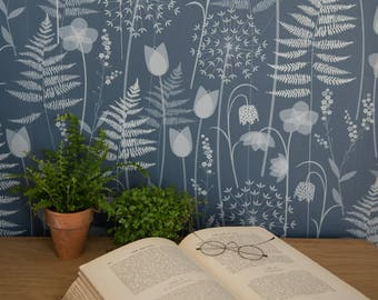 SAMPLE // Dark Blue Ink Floral Fern Tonal Botanical Woodland Wallpaper Brontë Sisters // Charlotte's Garden in 'Inkwell' by Hannah Nunn