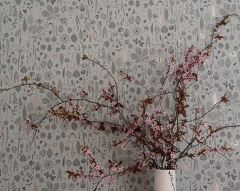 Tiny Treasures wallpaper in 'Skye' by Hannah Nunn, a grey/blue wall covering with rose gold detail for collectors of botanical seeds & pods